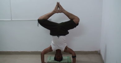 Bound Angle Pose in Headstand